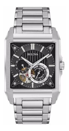 Relógio Masculino Bulova Prata Skeleton Automatico Retangulo