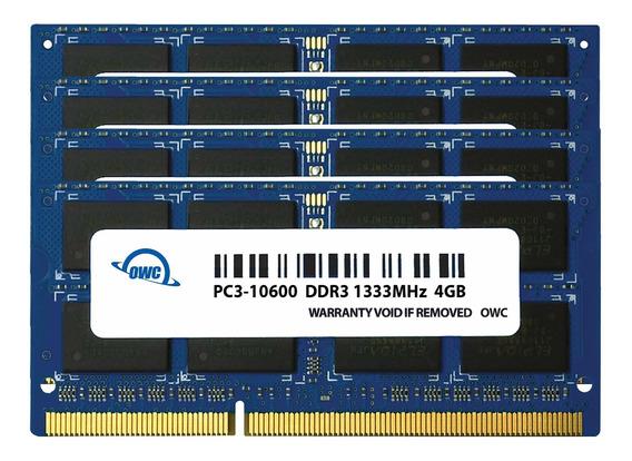 Memoria Ram 4gb Owc 16.0gb (4x ) 1333mhz 204-pin Ddr3 So-dimm Pc3-10600 Cl9 Upgrade Kit Para iMac (owc1333ddr3s16s)