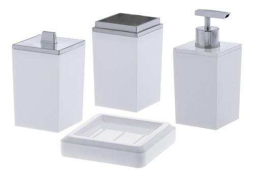 Jogo Banheiro Em Acrílico 4 Peças Lavabo Branco Paramount