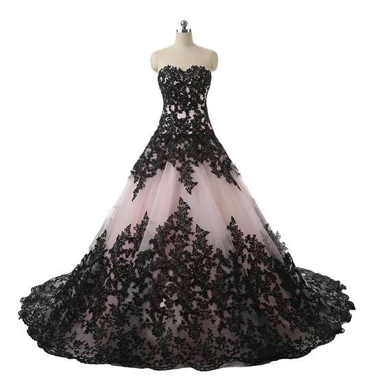 Vestido De Xv 15 Años Negro Encajes Importado