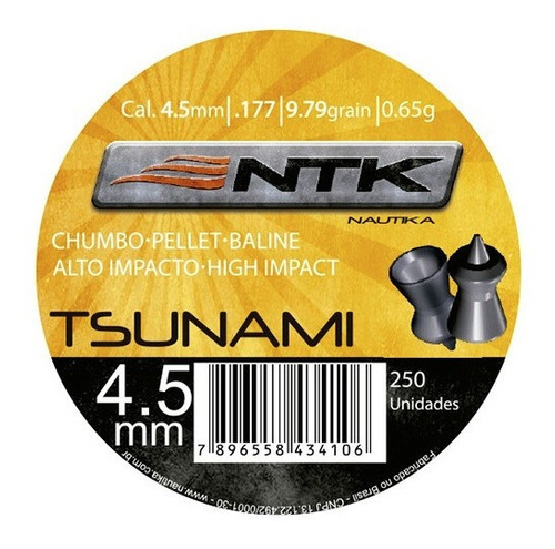 Chumbinho Nautika Ntk Tático Calibre 4,5 Mm 250 Un - Tsunami