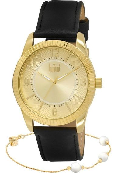 Relógio Dumont Feminino Du2035lnq Dourado + Linda Pulseira