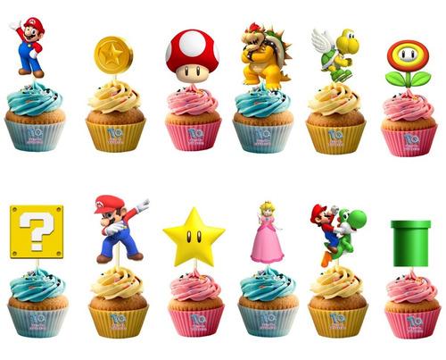Imagen 1 de 6 de Mario Bros Cupcake Toppers Adorno Para Muffins X10