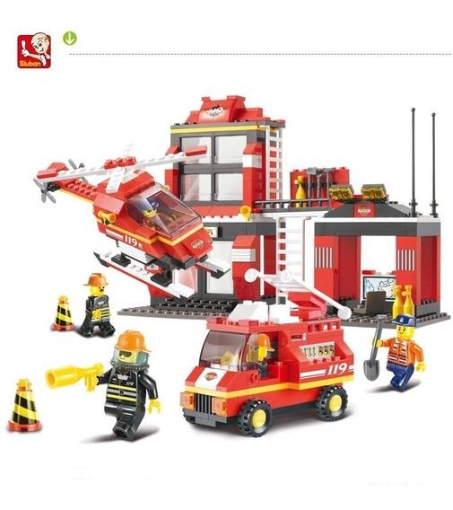 Brinquedo Blocos De Montar Bombeiro Compatível Lego Promoção
