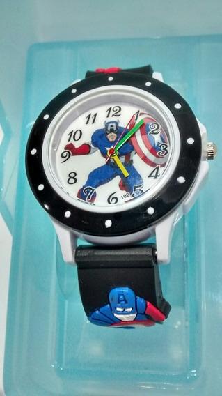 Relógio Infantil Avengers Capitão America Super Heróis Varias Cores Novidade Barato Promoção