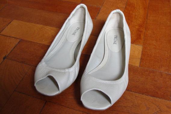 Zapatos Chatitas Prüne Nº 36 Color Marfil, Excelente Estado