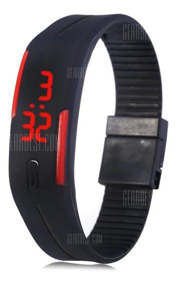 Relógio Digital Led Fino Hora E Data - Vermelho