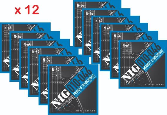 Kit Com 12 Encordoamentos Nig N64 Guitarra - .010 - .046