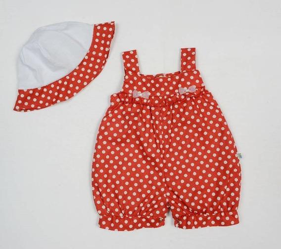 Macaquinho Banho De Sol Bebê Menina Com Chapéu Em Poá