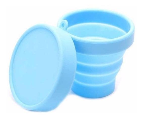 Copo Dobrável De Silicone Retrátil Dobrável Ecológico Azul