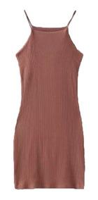Vestido Corto Ropa Mujer Lycra Stretch Café Tabaco