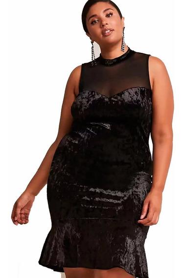 Vestido Velvet Terciopelo Detalle Tul Forever 21 Talle Esp