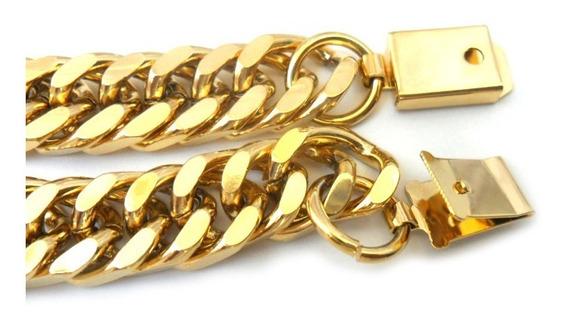 Conjunto Corrente Pulseira Masculina B-1893 Aço Banhado Ouro