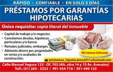 Prestamos En Lima Por Garantías Hipotecarias No Vemos Infoco