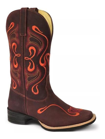 Bota Country Fem. Texana Lady Silver Couro Crazy Horse 69827