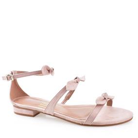 aee7688159 Sandália Rasteira Uza Shoes Com Laços Delicados T14l105c0017