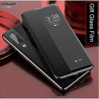 Luxo Capa Inteligente De Couro Genuíno Para Huawei P30 Pro