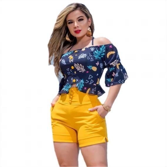 Conjunto Social Feminino Short E Blusa Luxo Cafs4