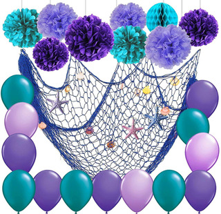 Furuix - Decoración De Fiesta De Sirena Con Pompón De Pap