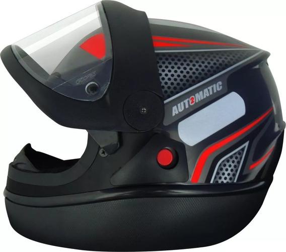 Capacete Automático Preto Com Vermelho Modelo San Marino Fw3