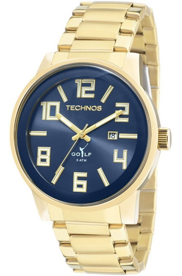 Relógio Technos Masculino Classic Golf Dourado Azul Original