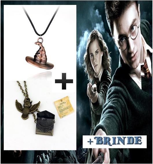 Colar Harry Potter Chapéu Seletor E Coruja Hogwarts Brindes