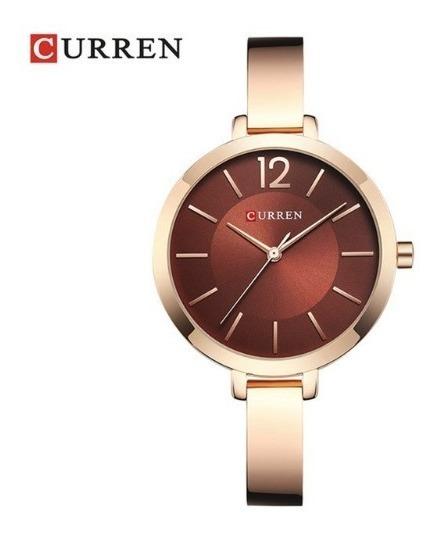 Relógio Feminino Curren 9012 Luxo Resistente A Água - Rose