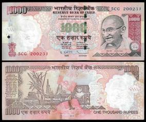 Índia 1000 Rupias 2010 P. 100f Fe Cédula Letra L - Tchequito