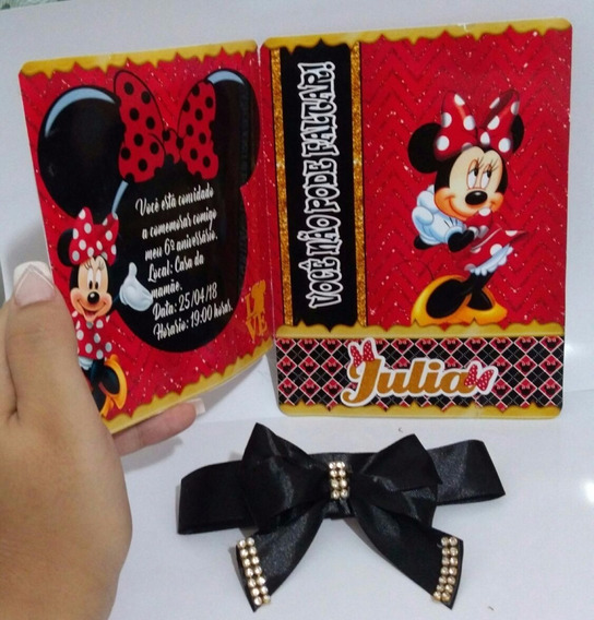 Arquivo Silhouette Convite Minnie Mouser Vermelho + Brindes