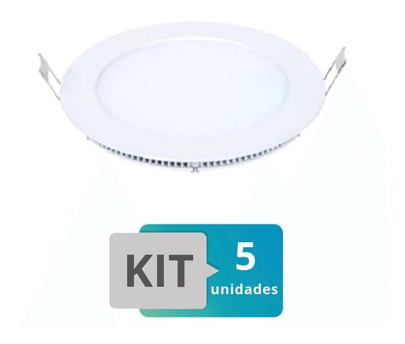 Kit 5 Painel Plafon Led Embutir Slim Redondo 18w Branco Que