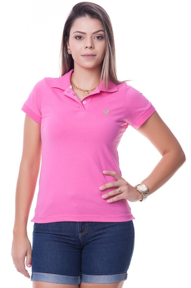 Camisa Camiseta Polo Gola Floral Feminina Lisa