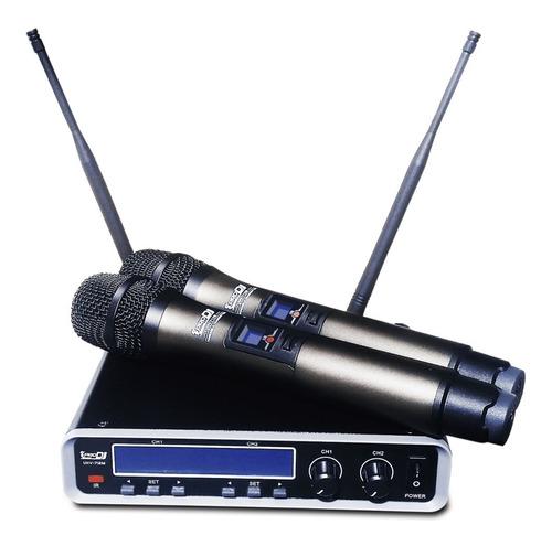 Microfono Inalambrico Doble De Mano Pro Dj Uhv712m Uhv-712m