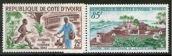 Costa De Marfil 2 Sellos Nuevos Día Del Sello Postal 1961-62