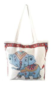 Frete Grátis Bolsa Em Lona Elefante Indiano Sacola Feminina
