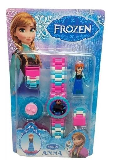 Relógio Digital Infantil Frozen + Mini Boneca Lego Anna