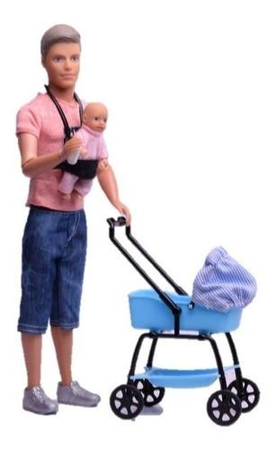 Muñeco Tomy Y Su Bebé En Cochecito Simil Ken  Paloma