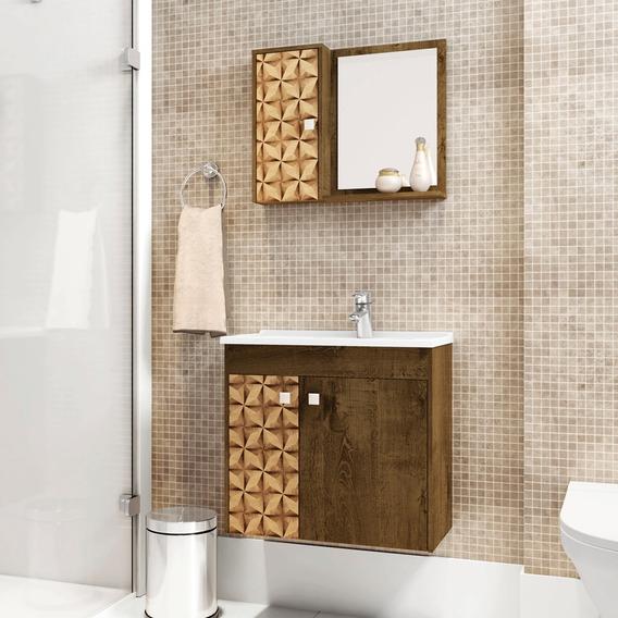 Gabinete Banheiro Com Pia Munique Madeira 3d