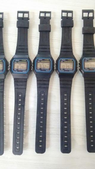 Kit 10 Relógio Aqua Médio Com Numeros Grande Prova De Água
