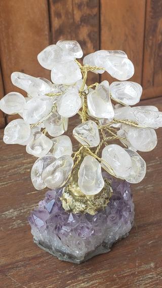 Árvore Em Cristal E Base De Ametista 14cm