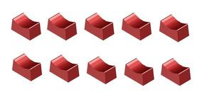 Knob Tecla Deslizante Pequeno Vermelho - 10 Peças