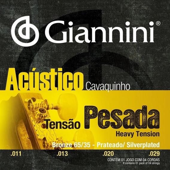 Kit 4 Encordoamentos Giannini Cavaco Acústico Pesado