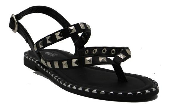 Zapatos Sandalias Mujer Dama Chatas Bajas Negro Leblu Z148