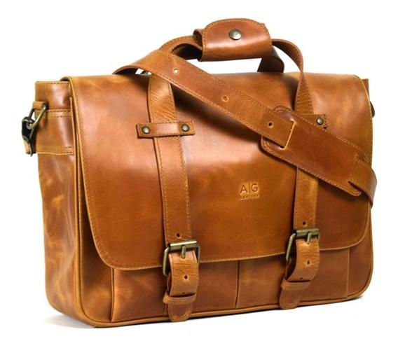 Portafolio Ag Leather Montana 100% Piel Color Miel