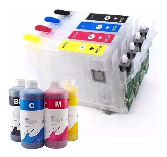 Cartucho Recarregável Xp411 Xp401 Xp214 + Tinta Pigmentada