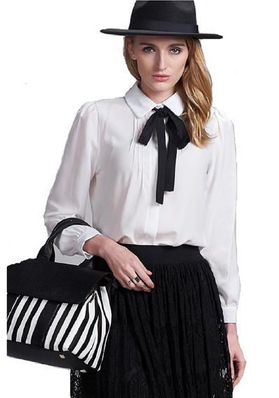 Camisa Feminina Blusa Gravata Gola Laço Importada Social
