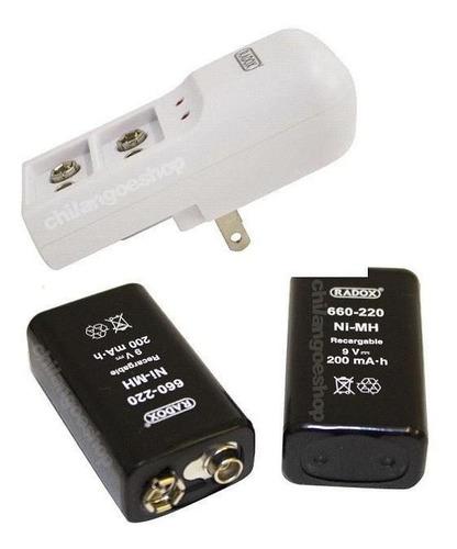 Cargador + 2 Baterias Pilas Cuadradas 9v Recargables