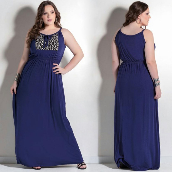Vestido Longo Liso Plus Size Básico Elegante Em Promoção