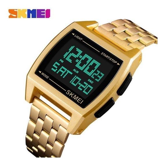 Relógio Digital Masculino Dourado Skmei 1368 Caixa Nf