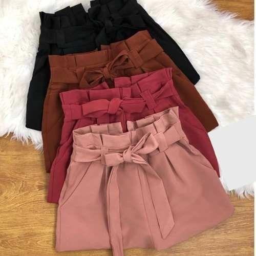 Shorts Lacinho Na Cintura Bengaline Cintura Alta Feminino