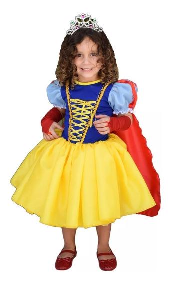 Vestido Princesa Branca De Neve Cute Infantil Com Capa Luva